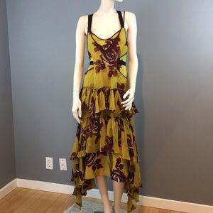 NWOT Cinq a Sept Silk Print Ruffled Dress Sz 0